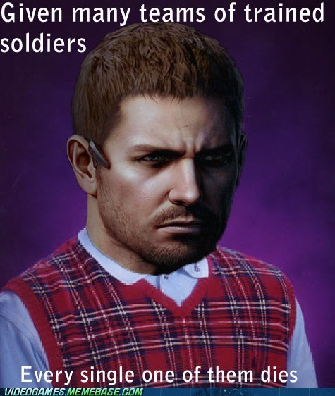 bad luck brian meme chris redfield - 6815431424