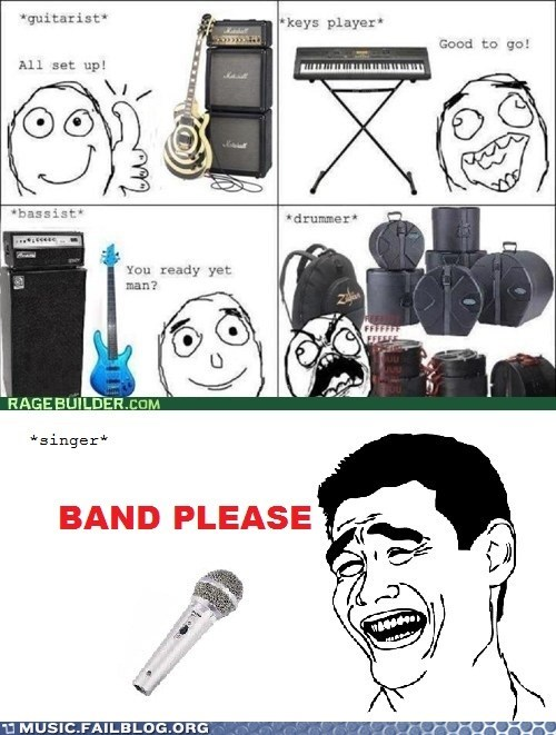 instruments,band members,set up,Rage Comics