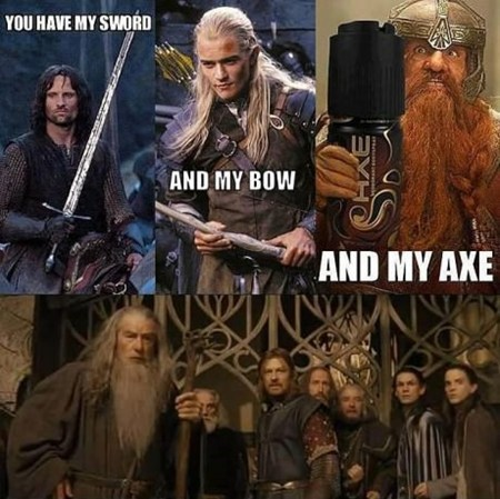 and my axe Lord of the Rings Movie gimli Product Placement - 6815679744