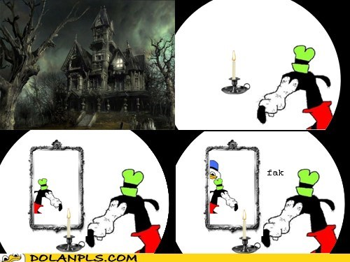 gooby,mirror,haunted house,reflection