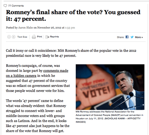 poetic 47 percent vote Mitt Romney election irony