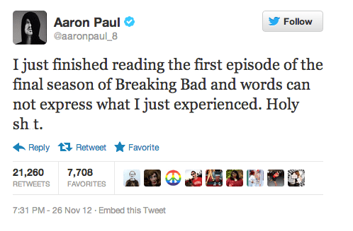 aaron paul twitter breaking bad actor amc TV tweet funny - 6816021248