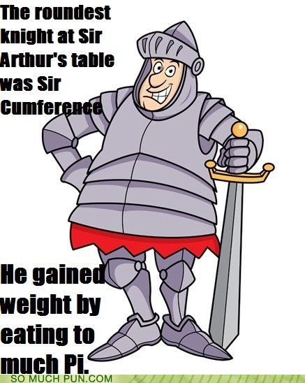 sir pi pie knights of the round table homophones round knight circumference