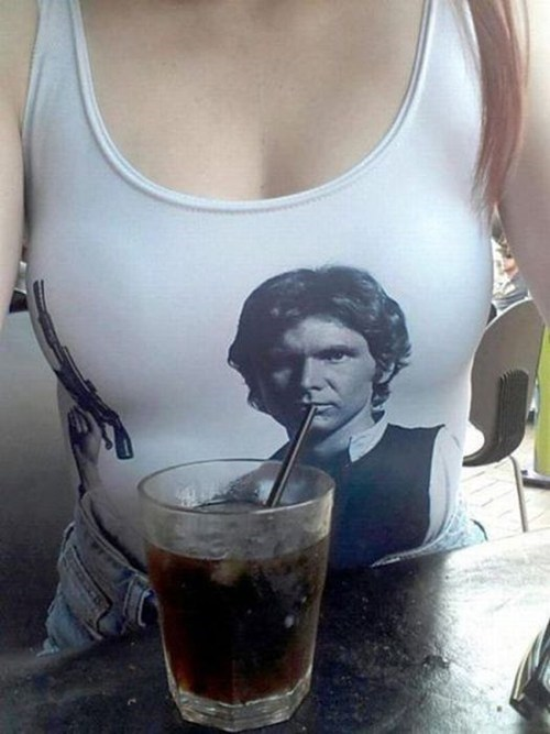 star wars cup tank top Han Solo straw