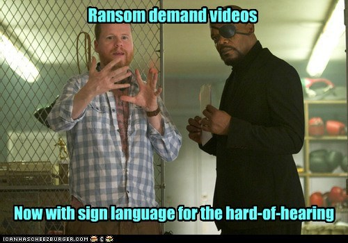 sign language,Nick Fury,The Avengers,demand,Samuel L Jackson,ransom,Joss Whedon