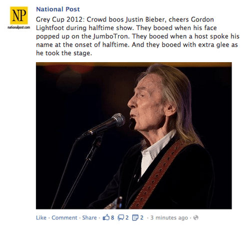 Canada,gordon lightfoot,CFL,grey cup,justin bieber