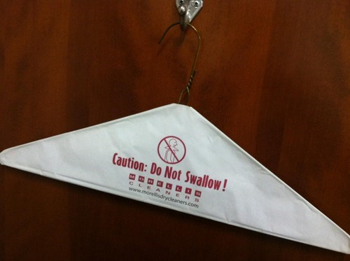 warning thanks clothes hanger