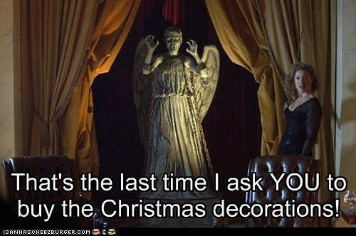 weeping angel,alex kingston,christmas decorations,last time,doctor who,River Song