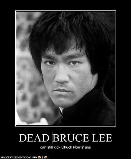 DEAD BRUCE LEE can still kick Chuck Norris' ass