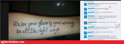 arm tattoos,misspelled tattoos,facebook
