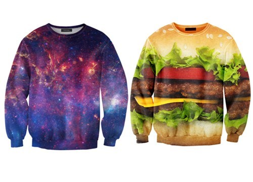 photorealistic,burger,galaxy,sweaters,print