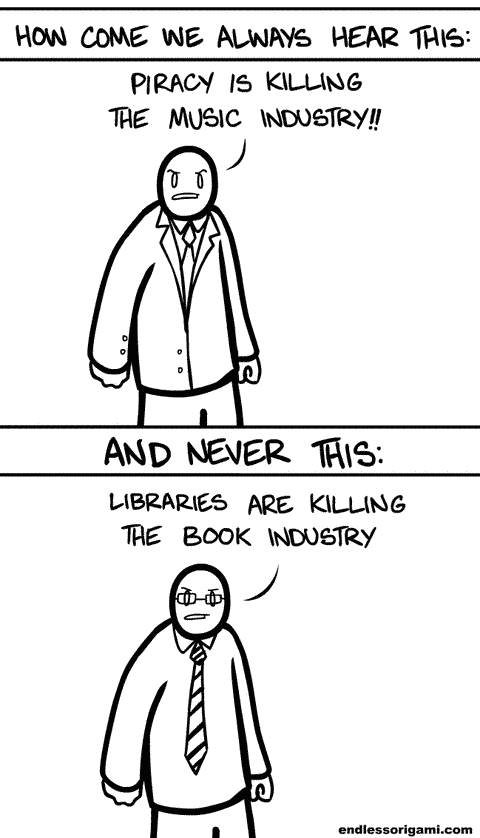 music industry,piracy,endless origami,library books