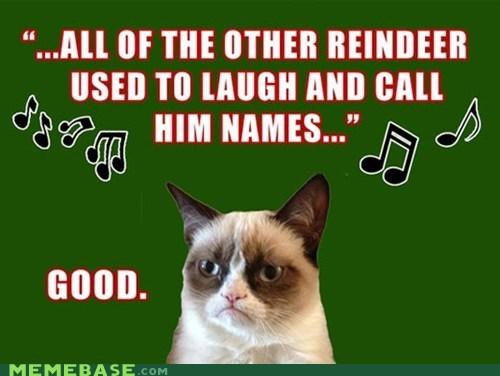 reindeer Grumpy Cat holidays carols christmas Memes tards rudolph the red-nosed reindeer jingle memes - 6819396096