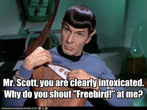 Music,freebird,McCoy,Spock,instrument,intoxicated,Leonard Nimoy,Star Trek