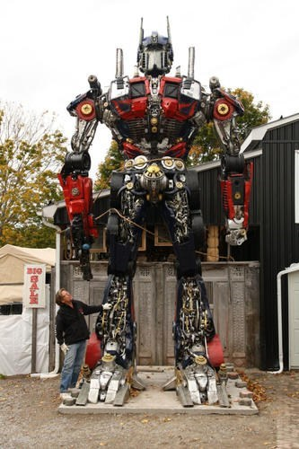 sculpture nerdgasm optimus prime DIY junk