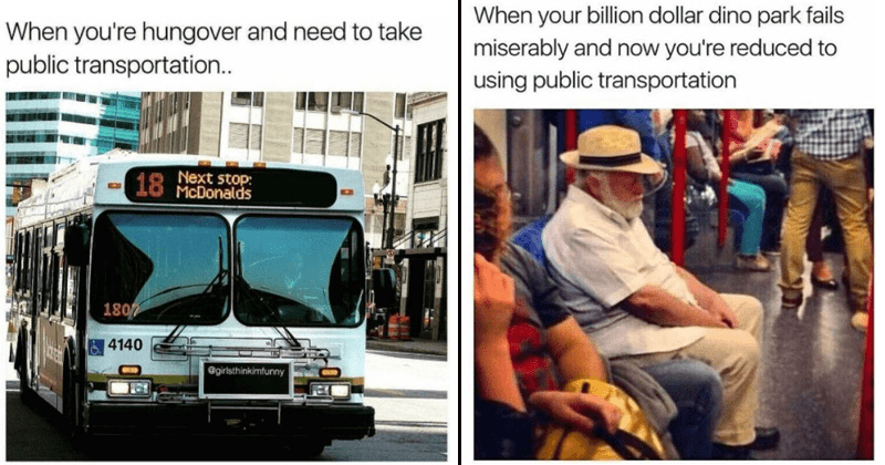 Funny memes and tweets about public transportation.