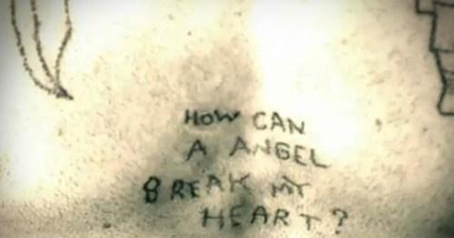 angel misspelled tattoos heartbreak