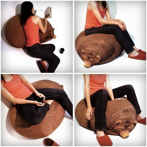 bean bag design grizzly bear cute - 6823447296