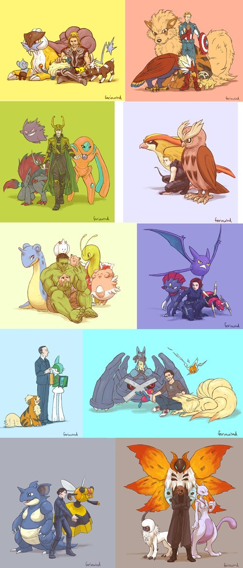 crossover,Pokémon,Fan Art,The Avengers