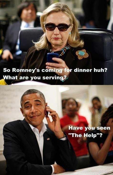 serving,poop,Mitt Romney,the help,Hillary Clinton,visit,barack obama,dinner