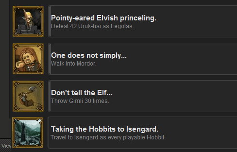 Lego Lord of the Rings Awesome Achievements