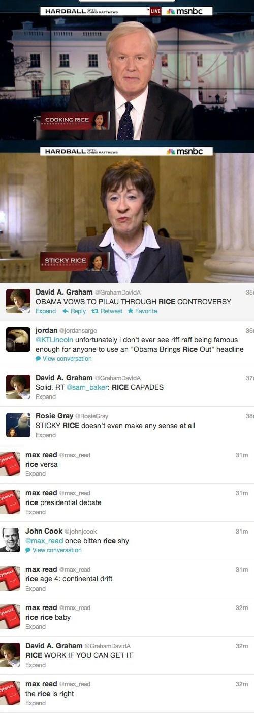 twitter,Susan Rice,MSNBC,puns,chris matthews,rice