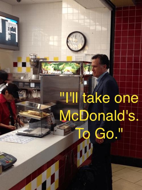 ordering,Mitt Romney,Awkward,McDonald's,store