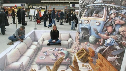 Street Art art chalk art perspective illusion - 6824482560