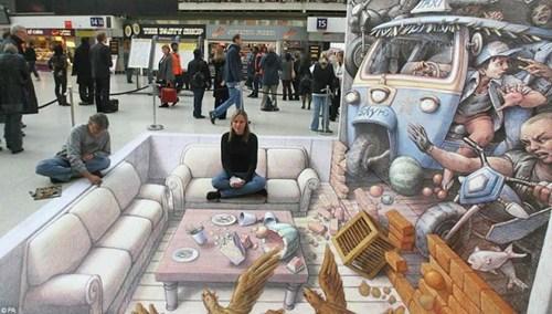 Street Art art chalk art perspective illusion - 6824482560