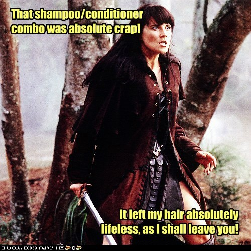 Lucy Lawless,crap,shampoo,Xena Warrior Princess,lifeless