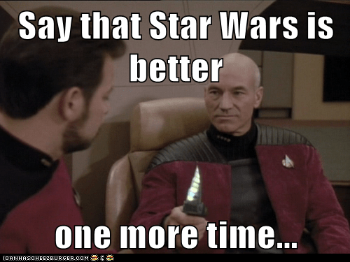 star wars,william riker,Captain Picard,better,knife,Jonathan Frakes,One More Time,Star Trek,threat,patrick stewart