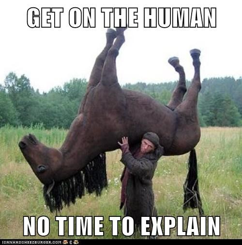 get on,no time to explain,human,carrying,horses