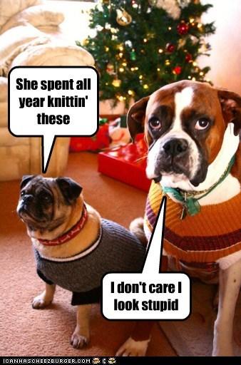 christmas dogs pug christmas sweaters ugly sweater boxer holidays - 6825470208