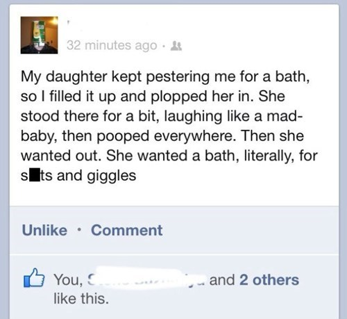 poop bathtime facebook daughter failbook