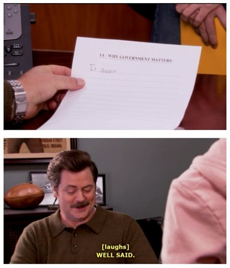ron swanson,parks and rec,TV,politics