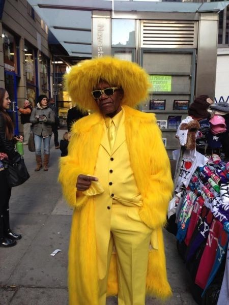 pimp suit,yellow,feathers