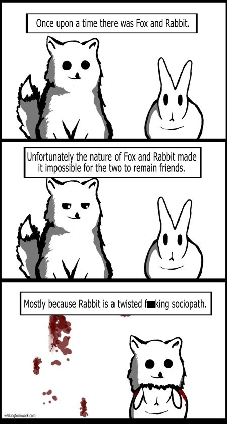 beady eyes best friends sociopath fox rabbit animals - 6827405568