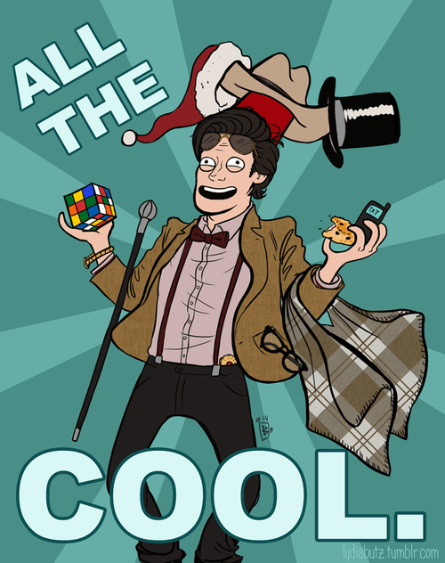 cool,santa hats,the doctor,FEZ,all the things,Matt Smith,doctor who,stetson