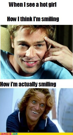 brad pitt,how i think i look,smiling,how I actually look,girls,Willem Dafoe