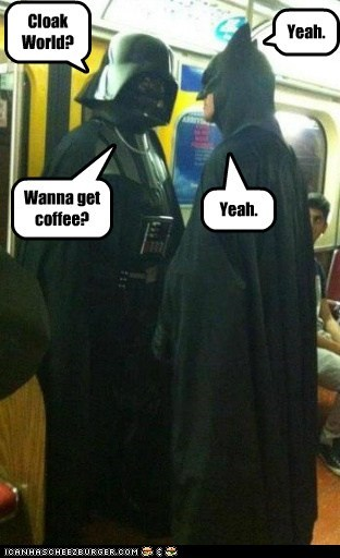 date,star wars,meeting,cloak,coffee,batman,darth vader