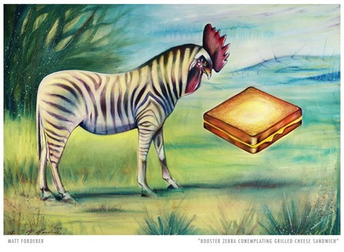 zebra,art,chicken,prey,grilled cheese sandwich