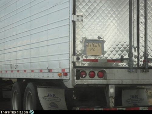 semi truck truck license plate seems legit