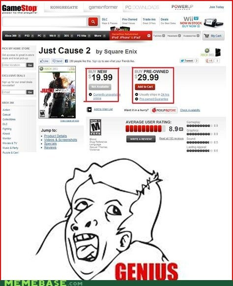 gamestop,prices,genius,just cause 2