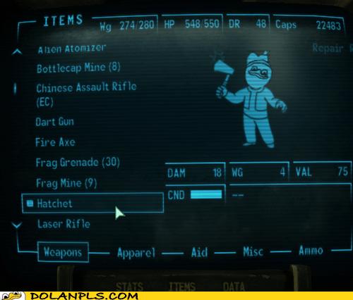hatchet fallout video game vault boy - 6834166784