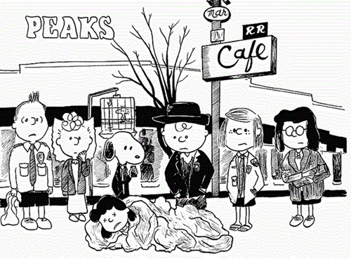 david lynch,peanuts,art,charles shulz,charlie brown,illustration,funny