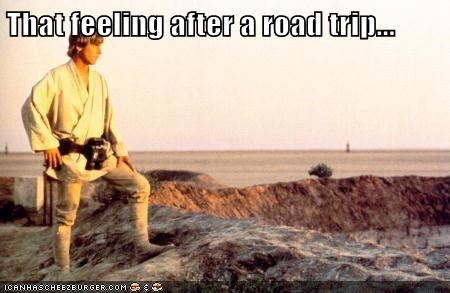 star wars,feeling,luke skywalker,road trip,stretch,Mark Hamill