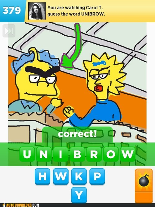 draw something,unibrow,the simpsons