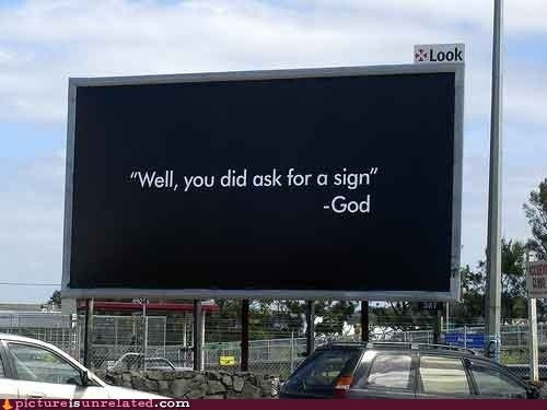 god sign billboard checkmate atheists