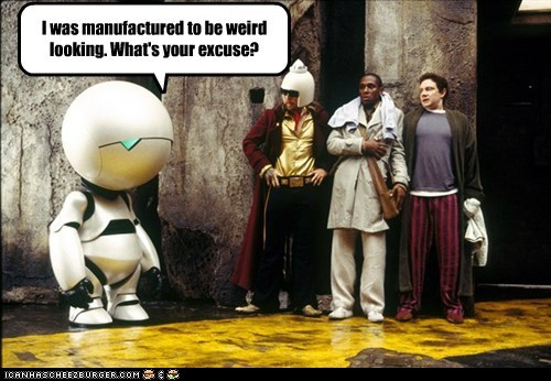 ford prefect,excuse,The Hitchhiker's Guide to the Galaxy,Mos Def,arthur dent,Martin Freeman,zaphod beeblebrox,marvin,Sam Rockwell,weird