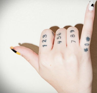 dial pad finger tattoos digits - 6836669440